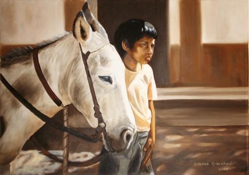 """""""Julito y Luna"""" • Óleo sobre lienzo • 70x50cm • 2007"""